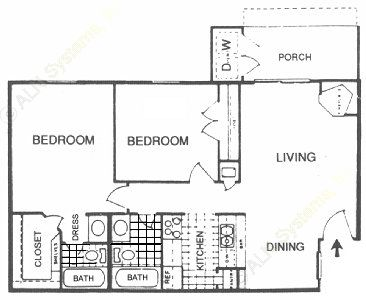870 sq. ft. F floor plan