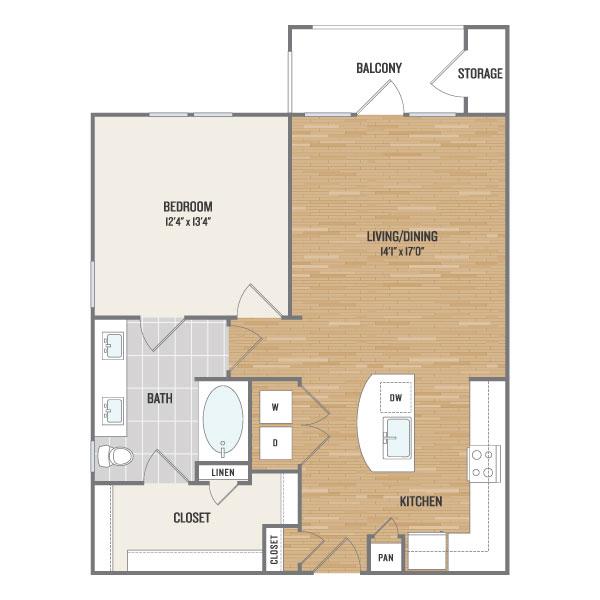 808 sq. ft. A3 floor plan