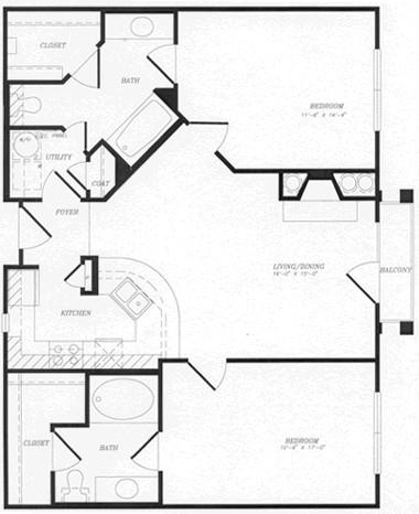1,032 sq. ft. to 1,067 sq. ft. B3 floor plan