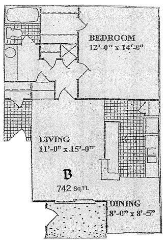 742 sq. ft. B floor plan