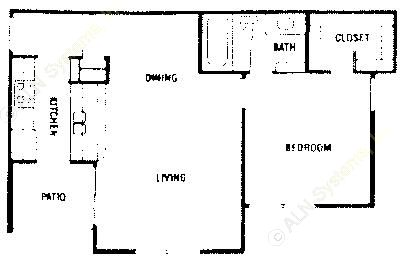 625 sq. ft. A1 ABP floor plan
