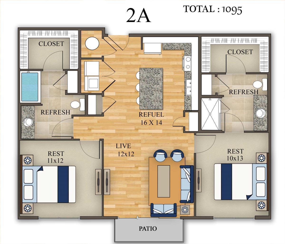 1,095 sq. ft. 2A floor plan