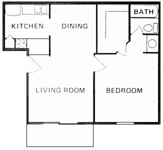 544 sq. ft. A-1 floor plan