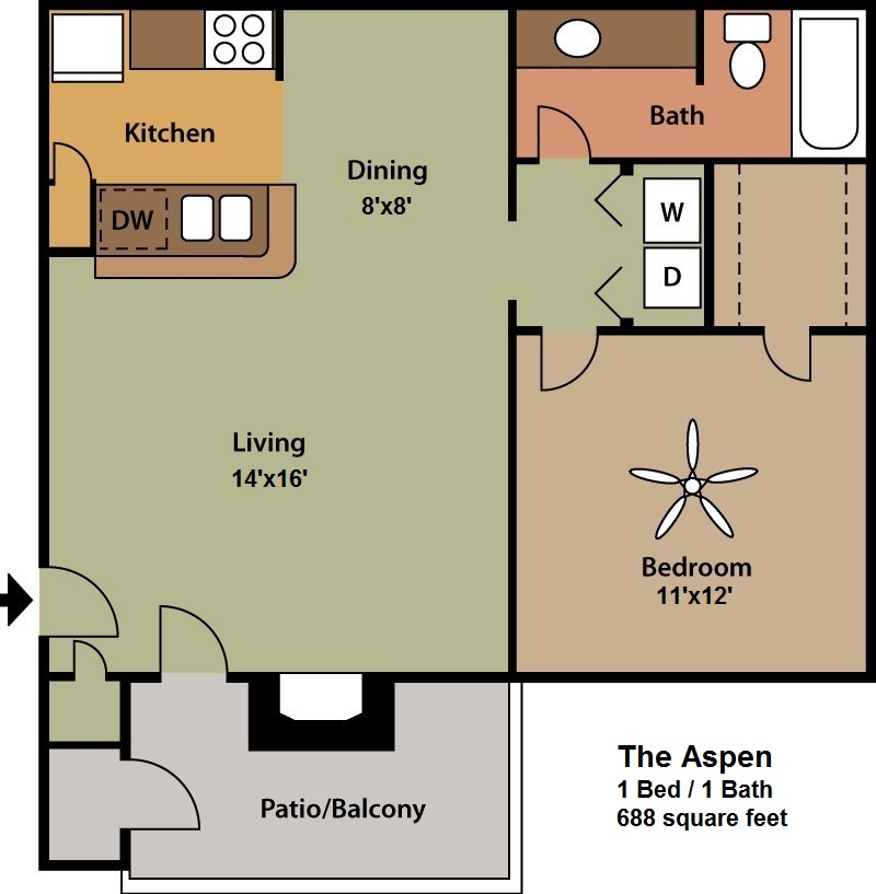 688 sq. ft. Aspen floor plan