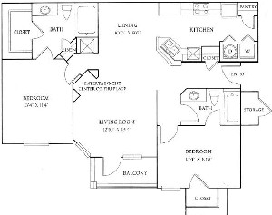 1,124 sq. ft. B1 floor plan