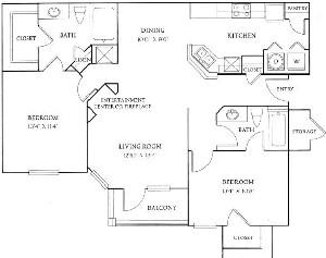 1,124 sq. ft. B1 floor plan
