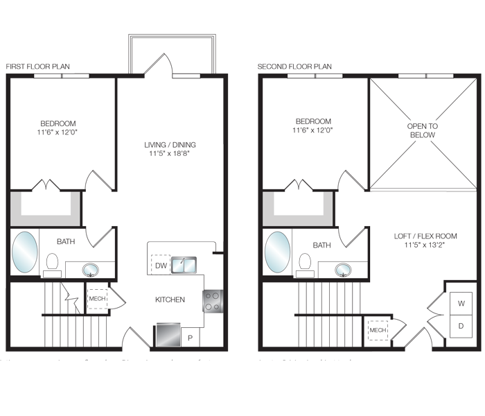 1,210 sq. ft. L1 floor plan