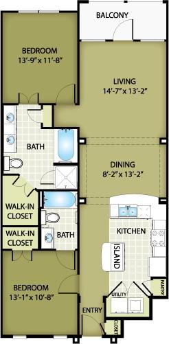 1,126 sq. ft. VERSACE floor plan