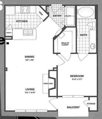 722 sq. ft. A3 floor plan