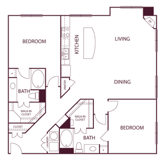 1,405 sq. ft. B6 floor plan