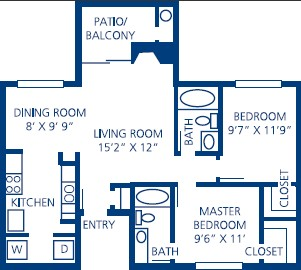 863 sq. ft. B1 floor plan