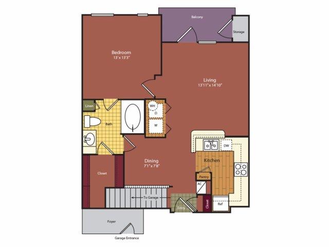 748 sq. ft. A2G floor plan