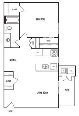 718 sq. ft. A1 floor plan