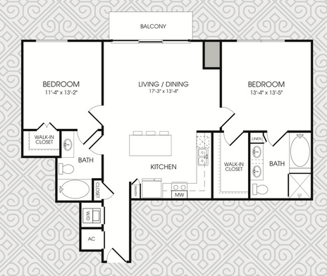 1,156 sq. ft. B3 floor plan