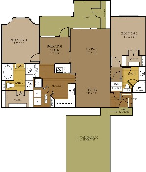 1,194 sq. ft. to 1,288 sq. ft. SURREAL floor plan