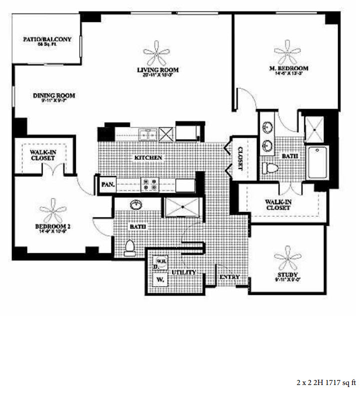 1,717 sq. ft. 2H floor plan