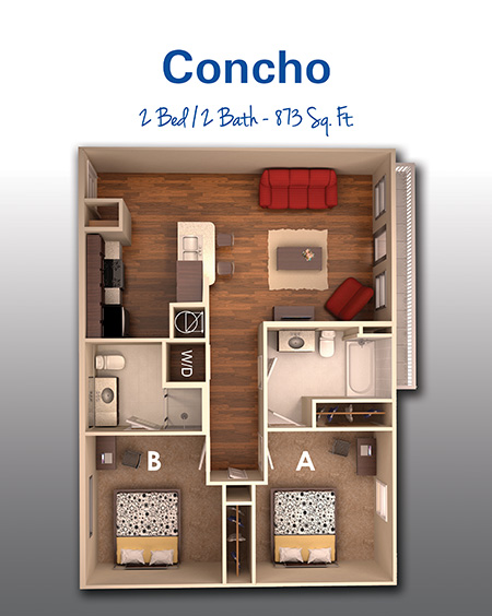 873 sq. ft. A floor plan