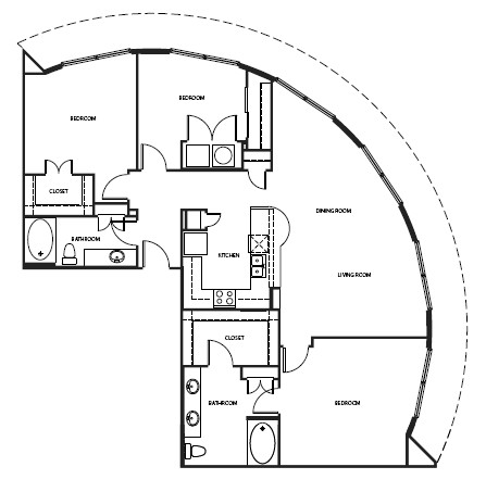 1,095 sq. ft. 2B1-1 floor plan