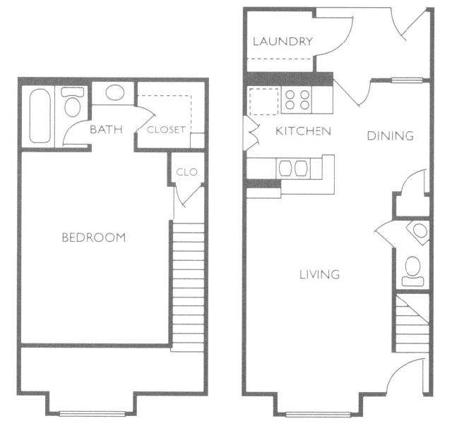 711 sq. ft. A5 floor plan