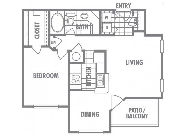 750 sq. ft. B1 floor plan