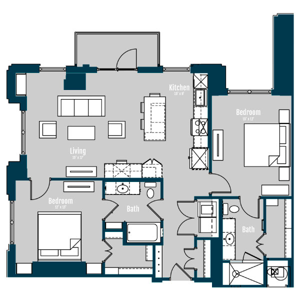 1,304 sq. ft. B3 floor plan