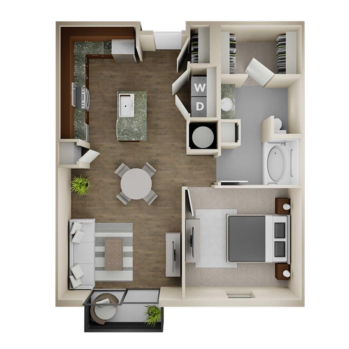 796 sq. ft. 1BA floor plan