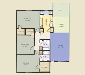 1,287 sq. ft. C1 floor plan