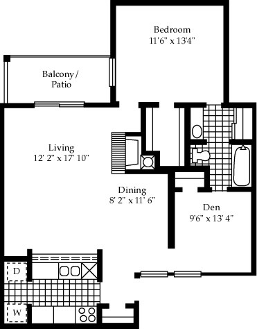 890 sq. ft. A11 floor plan