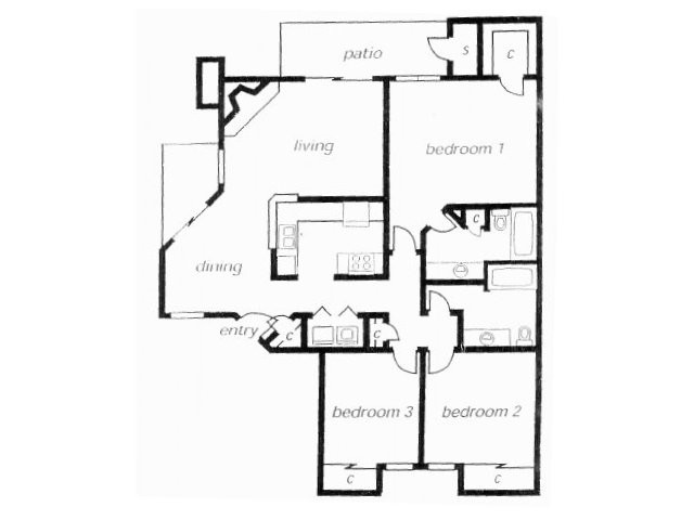 1,260 sq. ft. C1C floor plan