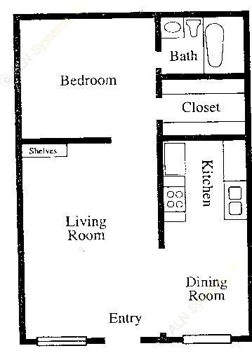 558 sq. ft. A1 floor plan