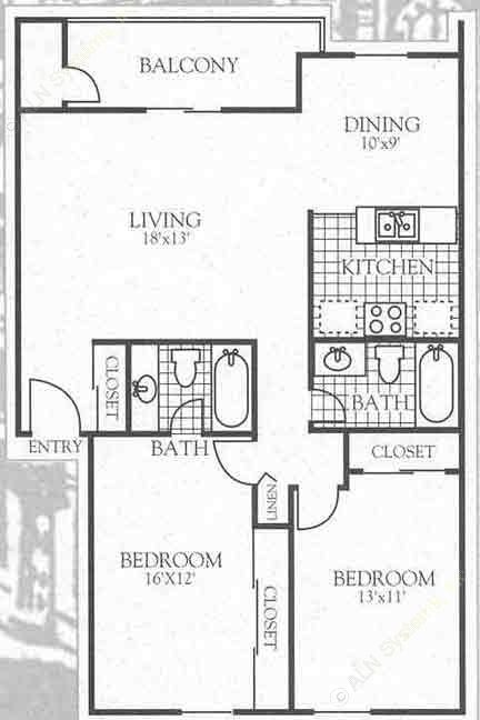 871 sq. ft. B2 floor plan