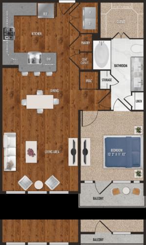 903 sq. ft. A8 floor plan