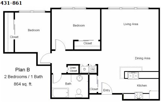 864 sq. ft. 30% floor plan
