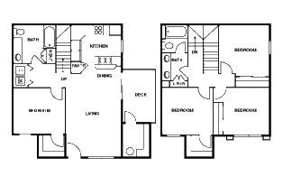 1,422 sq. ft. D floor plan