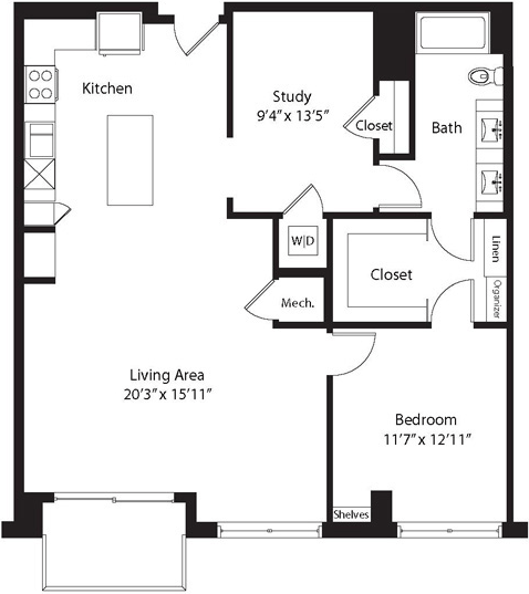 1,158 sq. ft. TH floor plan