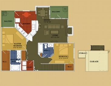 1,260 sq. ft. Lantana floor plan