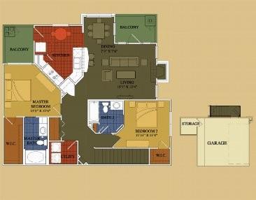 1,260 sq. ft. Maple floor plan