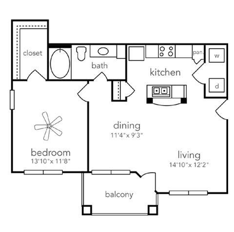 773 sq. ft. Caddo floor plan