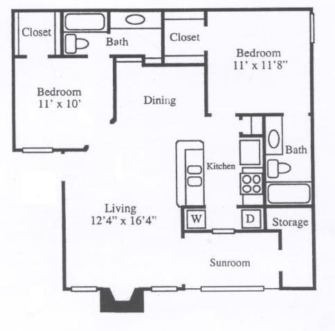 972 sq. ft. B1B floor plan