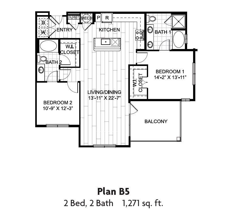 1,271 sq. ft. floor plan