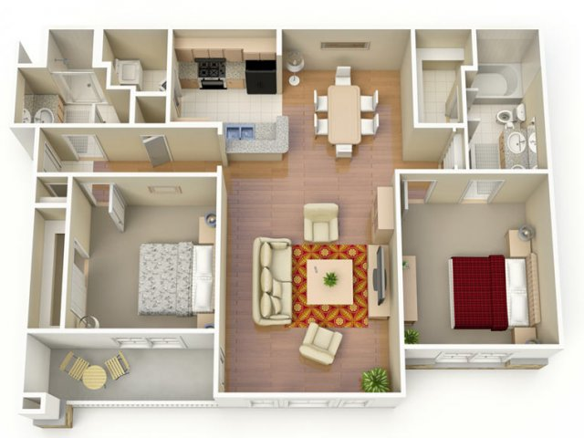 1,192 sq. ft. E floor plan
