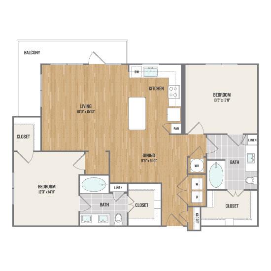 1,273 sq. ft. B3 floor plan