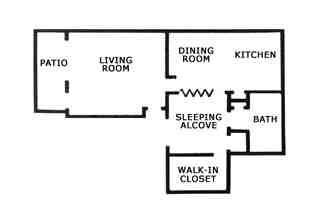 561 sq. ft. E1 floor plan