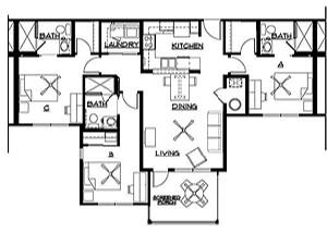 1,172 sq. ft. floor plan