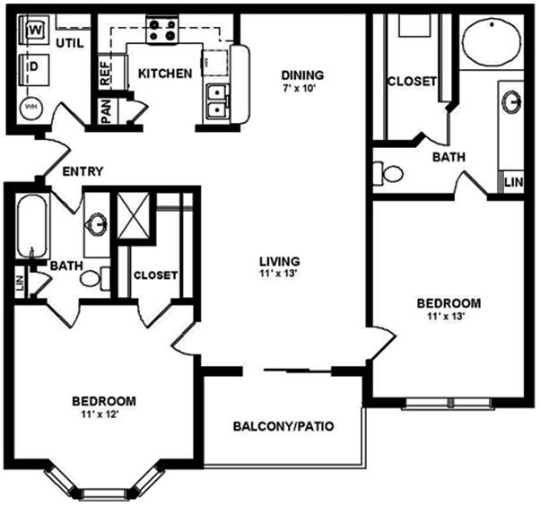 1,086 sq. ft. D floor plan