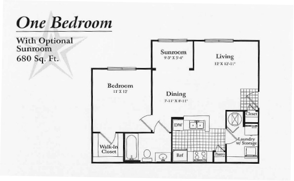 680 sq. ft. to 720 sq. ft. A1 floor plan