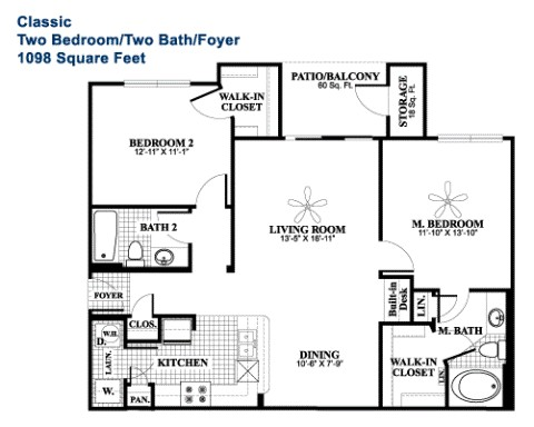 1,098 sq. ft. Classic floor plan