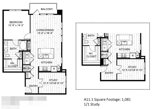 1,081 sq. ft. A11.1 floor plan