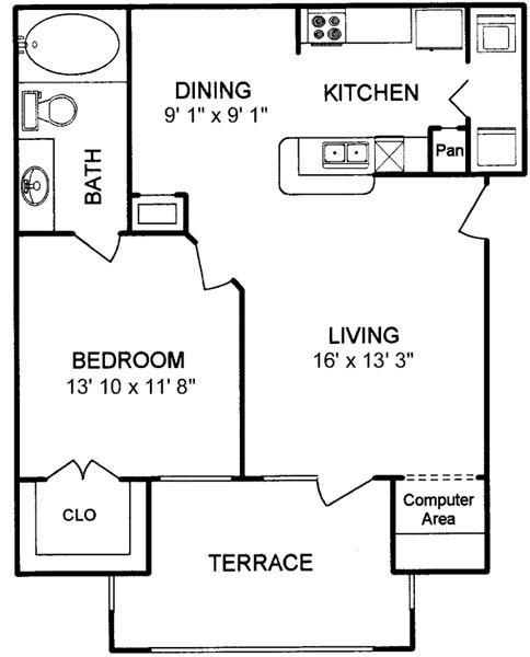 708 sq. ft. floor plan