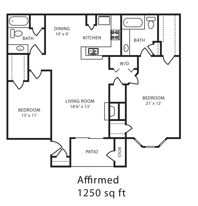 1,250 sq. ft. H floor plan